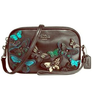 Coach butterfly appliqué pebbled leather bag